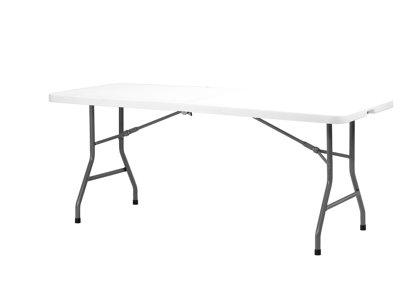 Taisnstūra galds uz pusēm saliekams Sharptable, gaiši pelēks