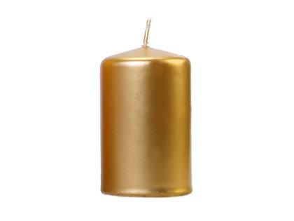 Svece cilindra formā 10x6.5cm, zelta tonī