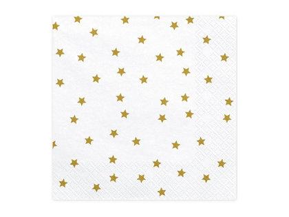 Salvetes 33x33cm, baltas ar zelta zvaigznēm