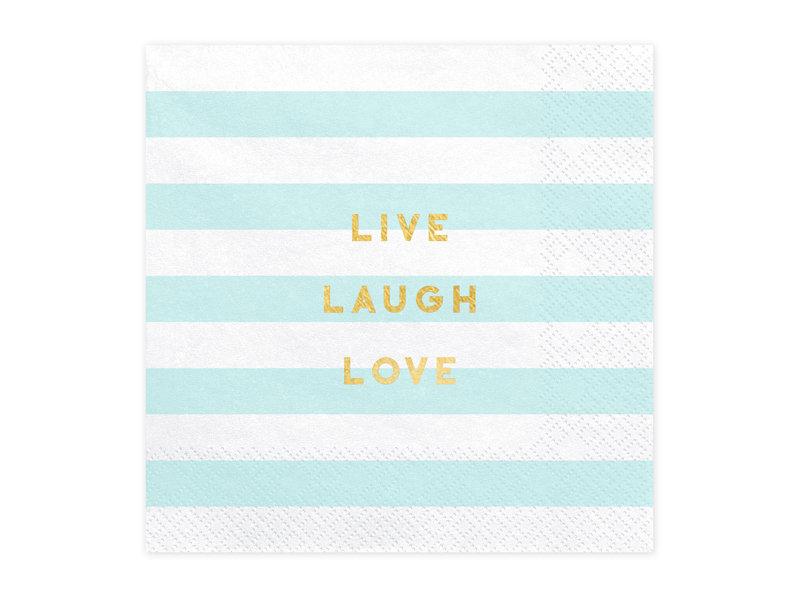 Salvetes Live Laugh Love 33x33cm, strīpainas balts ar tirkīzzilu