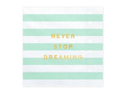 Salvetes Never stop dreaming 33x33cm, strīpainas balts ar tirkīzzaļu