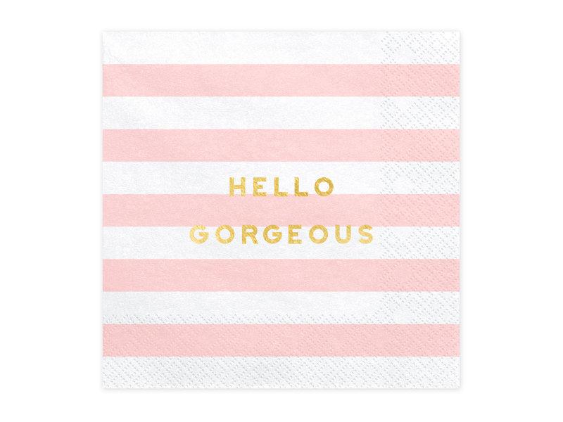 Salvetes Hello Gorgeous 33x33cm, strīpainas balts ar maigi rozā