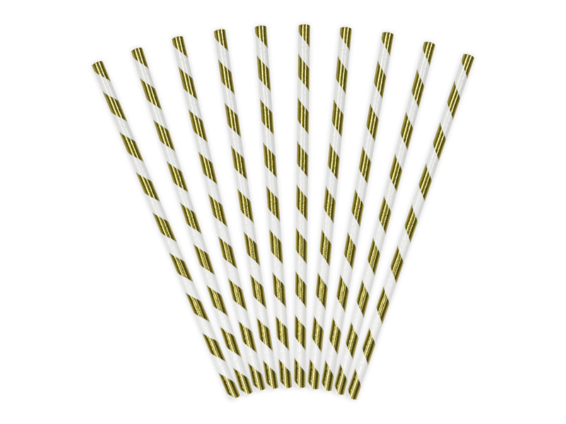 Salmiņi spīdīgi 19.5cm, strīpaini zelts ar baltu