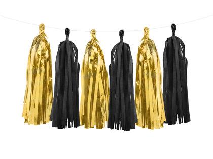 Virtene skaru 30x150cm, melnā un zelta tonī