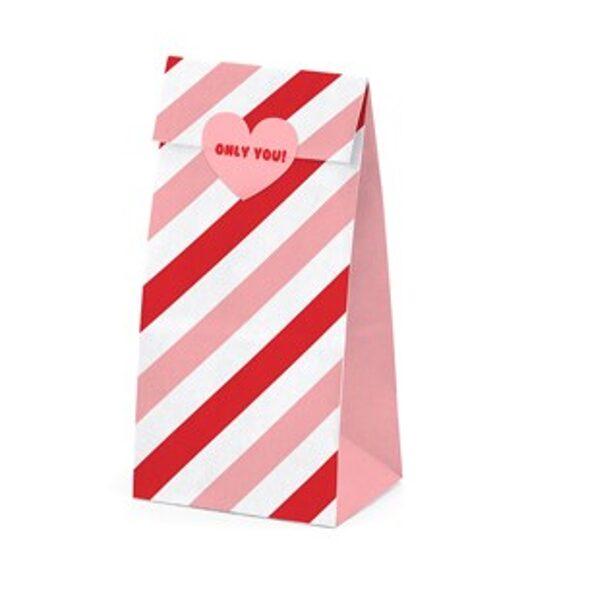 Pārsteigumu tūta Saldā mīla 8x6x18cm ar uzlīmi, balta ar sarkanām un maigi rozā strīpām