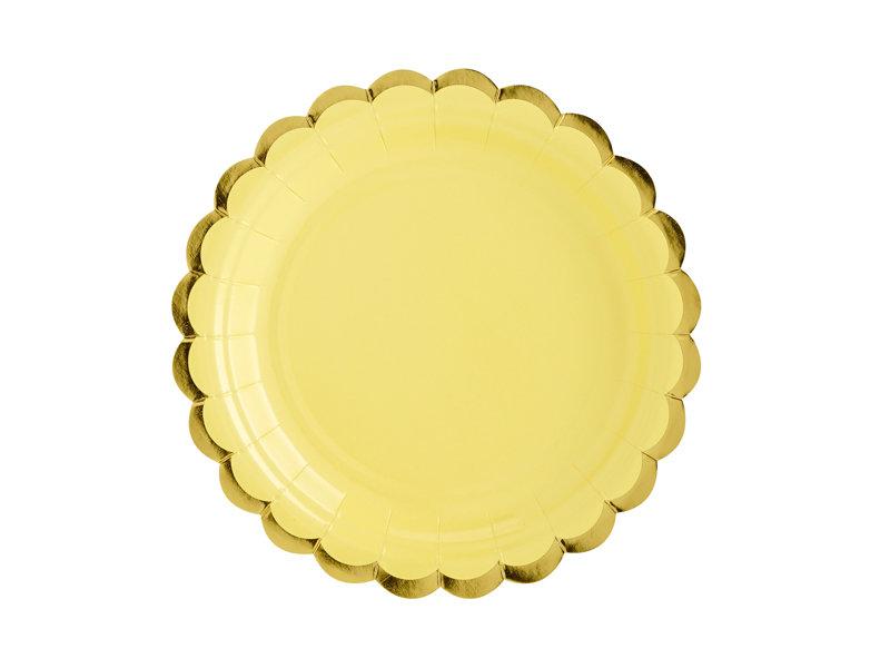 Šķīvji 18cm, gaiši dzelteni ar zelta maliņu