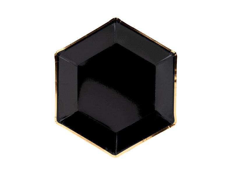 Šķīvji Melnā elegance 23cm, ar zelta maliņu