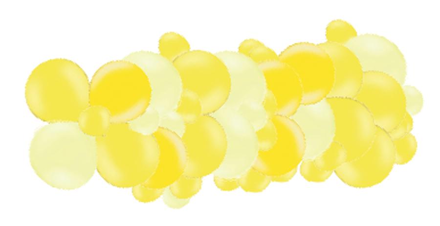 Mākslinieciskā virtene Saldumi, gaiši dzeltenos toņos