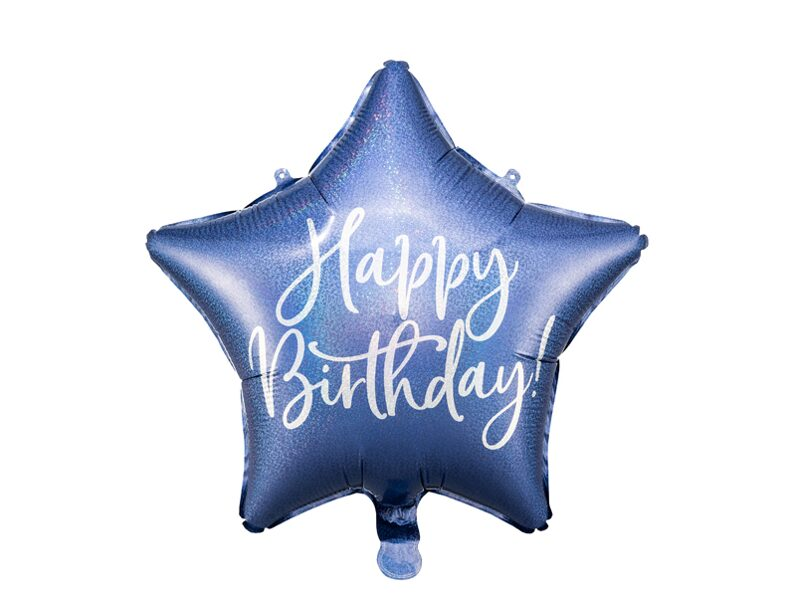 Folija balons Happy Birthday 40cm, zils