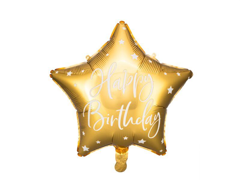 Folija balons Happy Birthday 40cm, zelta